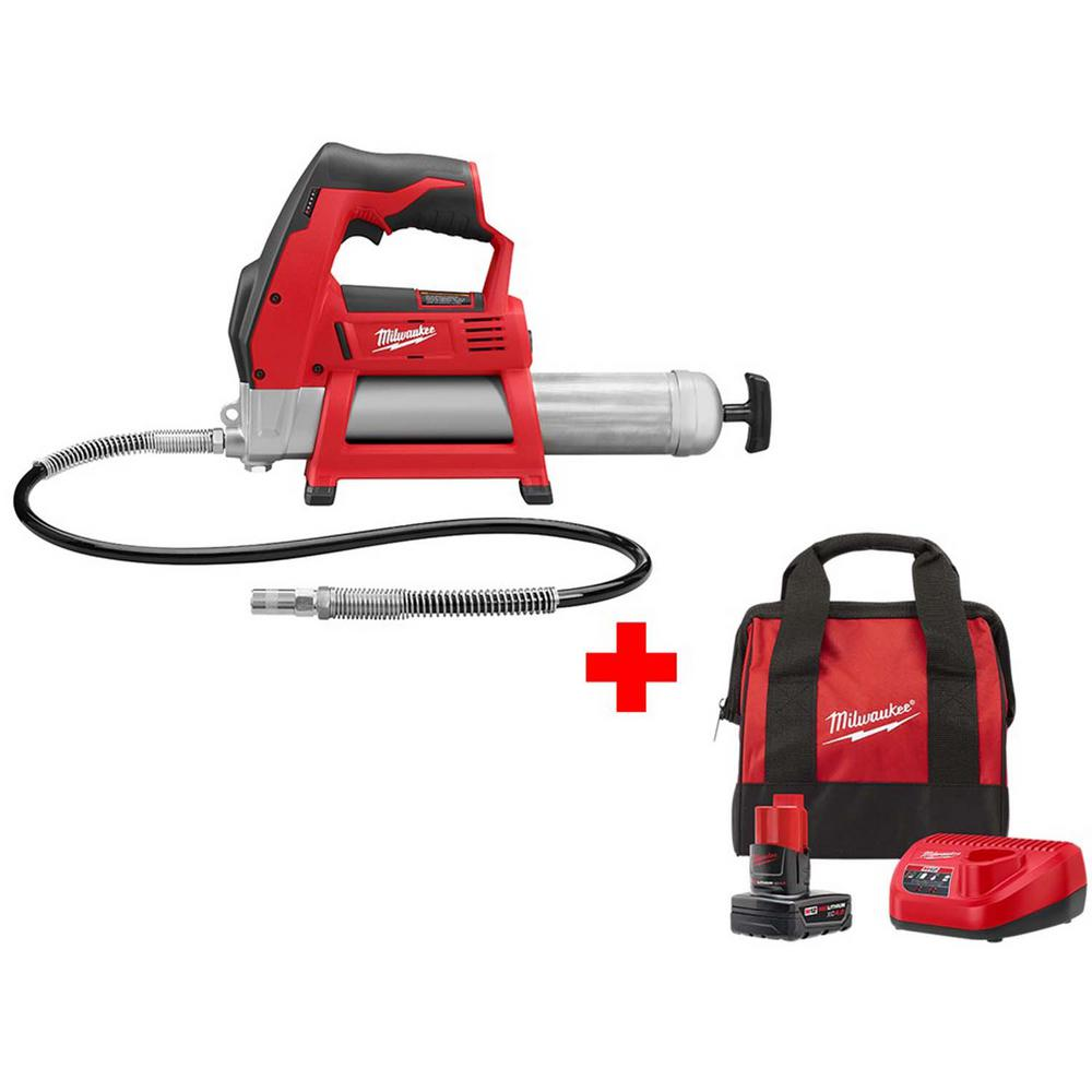 Milwaukee M12 12-Volt Lithium-Ion Cordless Grease Gun Kit with One 4.0 Ah Battery, Charger and Bag