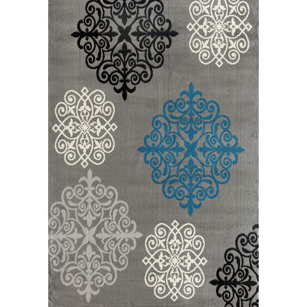 world rug gallery modern geometric damask design gray 5 ft x 7 ft