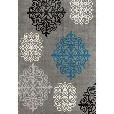 Modern Geometric Damask Design Gray 7 ft. 6 in. x 9 ft. 5 in. Area Rug