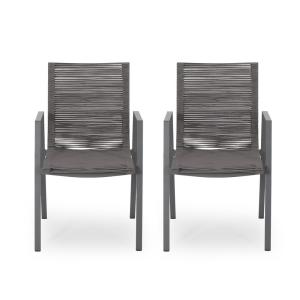Deloris Grey Aluminum Outdoor Dining Chair in Dark Grey (2-Pack)