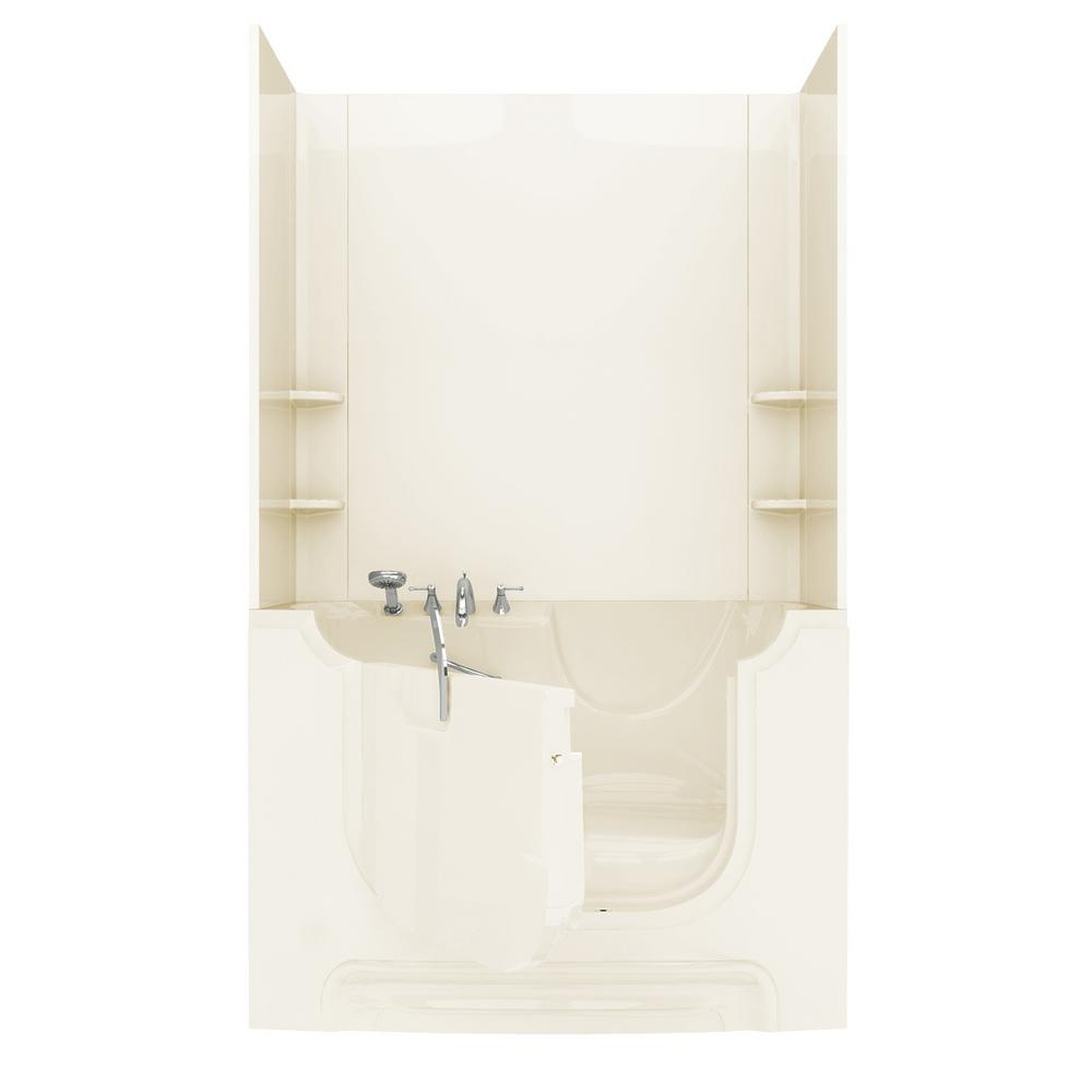 Rampart Wheelchair Accessible 5 ft. Walk-in Air Bathtub with Easy Up Adhesive Wall Surround in Biscuit
