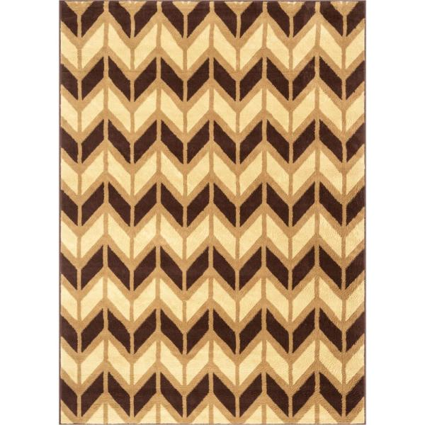 Well Woven Miami Bourban Modern Zig Zag Chevron Gold Brown 3 Ft 3 In X 5 Ft Area Rug 85214 The Home Depot