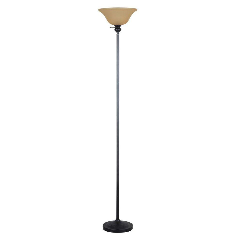 Evolution Lighting Bronze Torchiere with Plastic Shade-DISCONTINUED