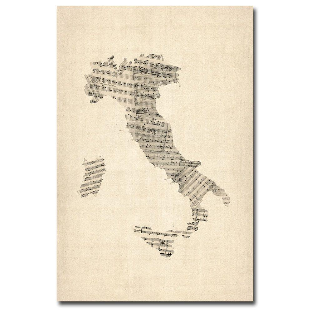 30 in. x 47 in. Italy - Old Sheet Music Map