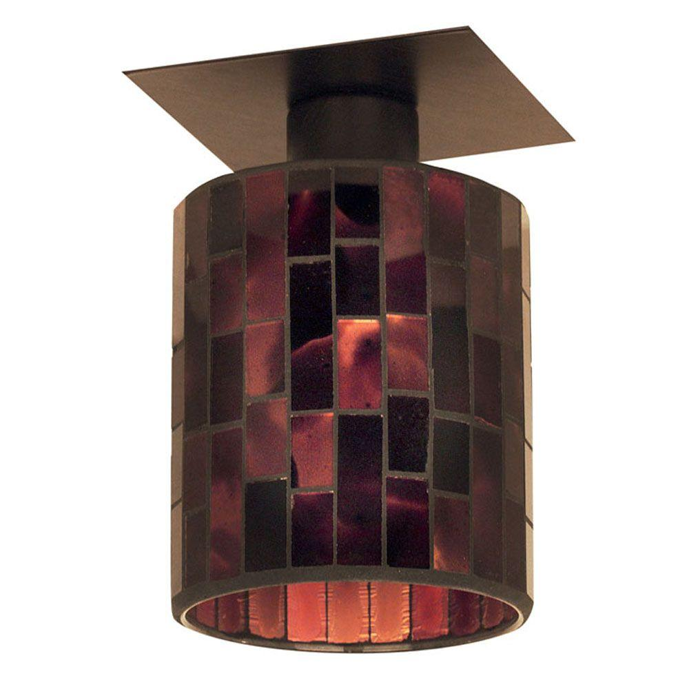 Eglo Troya 1-Light Antique Brown Ceiling Light with Mosaic Glass-DISCONTINUED