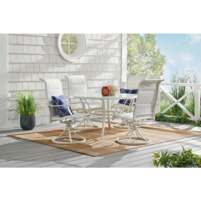 Riverbrook Shell White 5-Piece Outdoor Patio Aluminum Round Glass Top Dining Set with Padded Sling Swivel Chairs