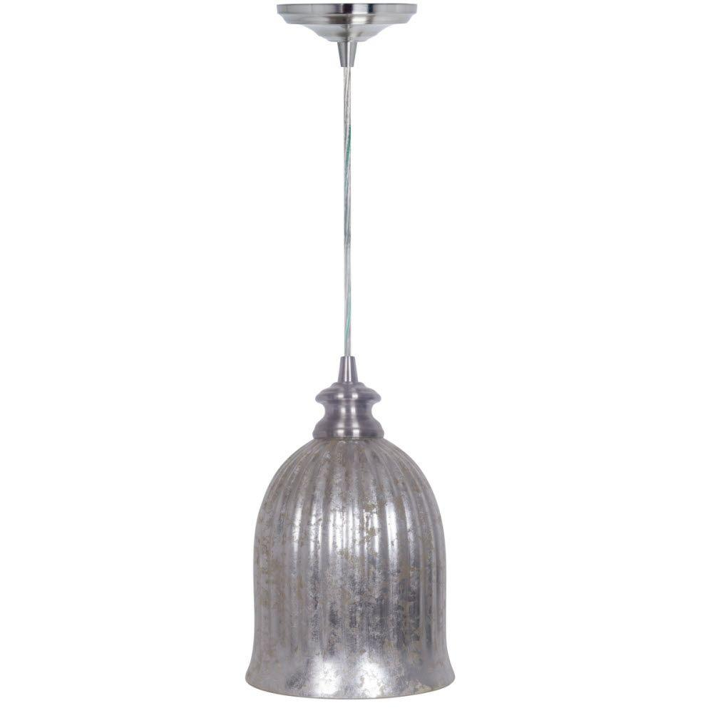 Mary 1-Light Hardwire Brushed Nickel Pendant with Mercury Glass Shade