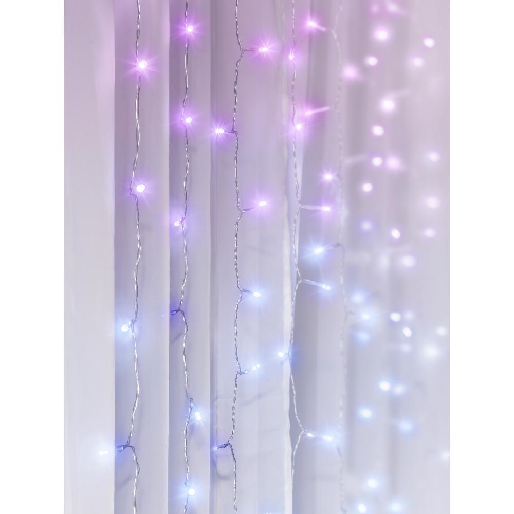 96-Light 4 ft. Multi-Color LED Curtain Cascading Lighting