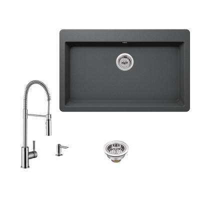 All-in-One Drop-In Granite Composite 33 in. Single Bowl 3-Hole Kitchen Sink in Gray with Faucet in Brushed Nickel