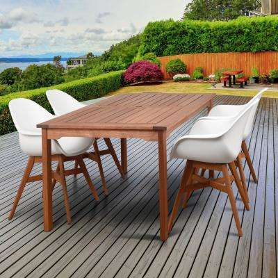 Deluxe Carilo 5-Piece Wood Oval Outdoor Dining Set - Wood Patio Furniture - White - Waterproof - Patio Dining Furniture