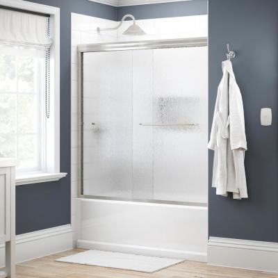 Simplicity 60 in. x 58-1/8 in. Semi-Frameless Traditional Sliding Bathtub Door in Nickel with Rain Glass