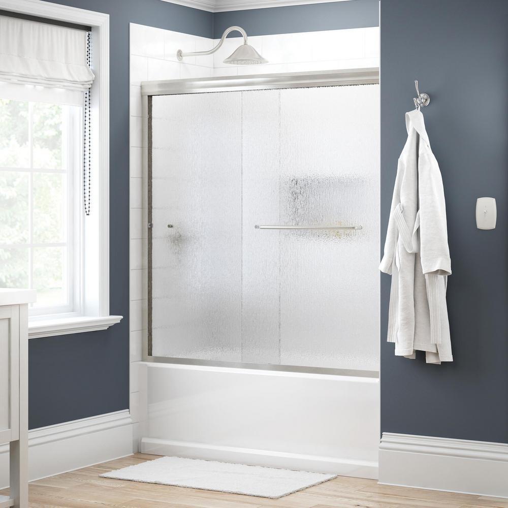 Simplicity 60 in. x 58-1/8 in. Semi-Frameless Traditional Sliding Bathtub Door in Nickel with Rain Glass