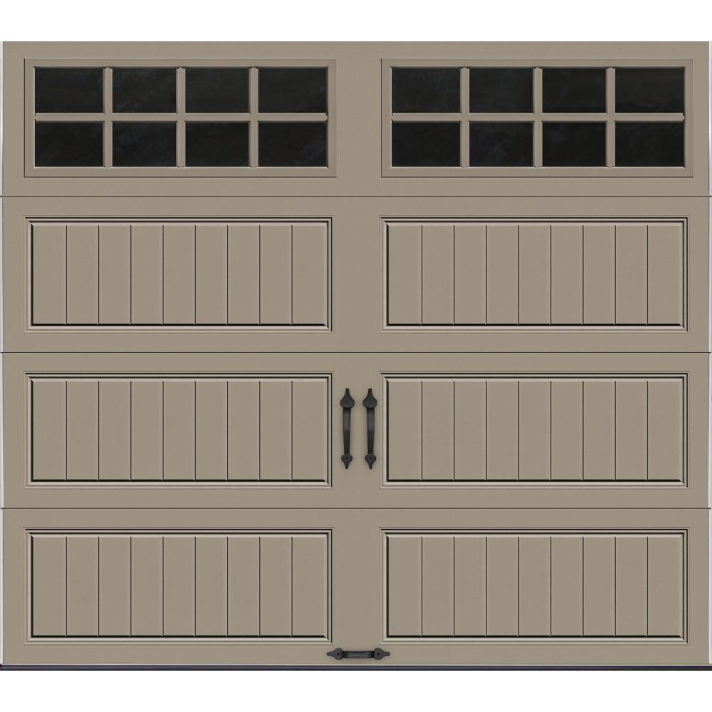Clopay Gallery Collection 8 ft. x 7 ft. 18.4 R-Value Intellicore Insulated Sandtone Garage Door with SQ24 Window