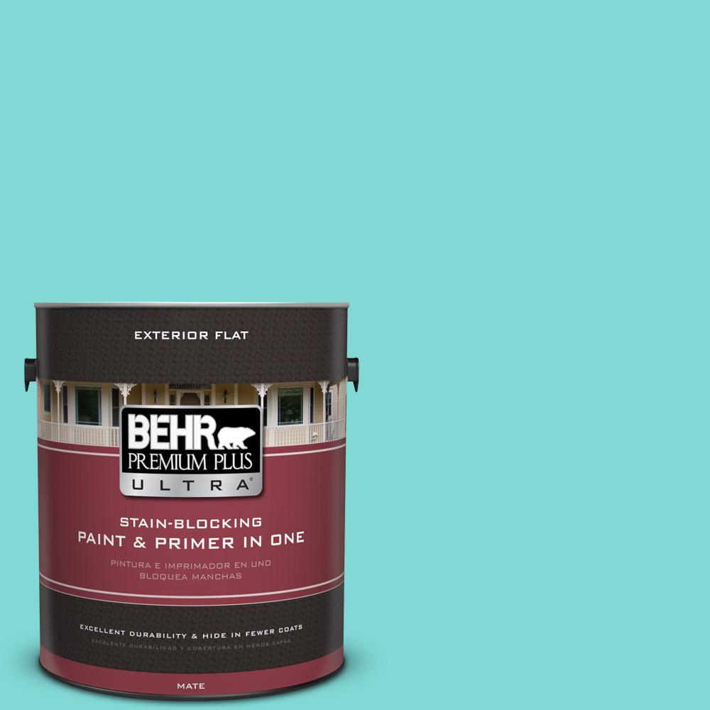 1 gal. #MQ4-22 Key Largo Flat Exterior Paint and Primer in