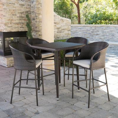 Dominica 41 in. Multi-Brown 5-Piece Wicker Square Outdoor Serving Bar Set with Light Brown Cushions