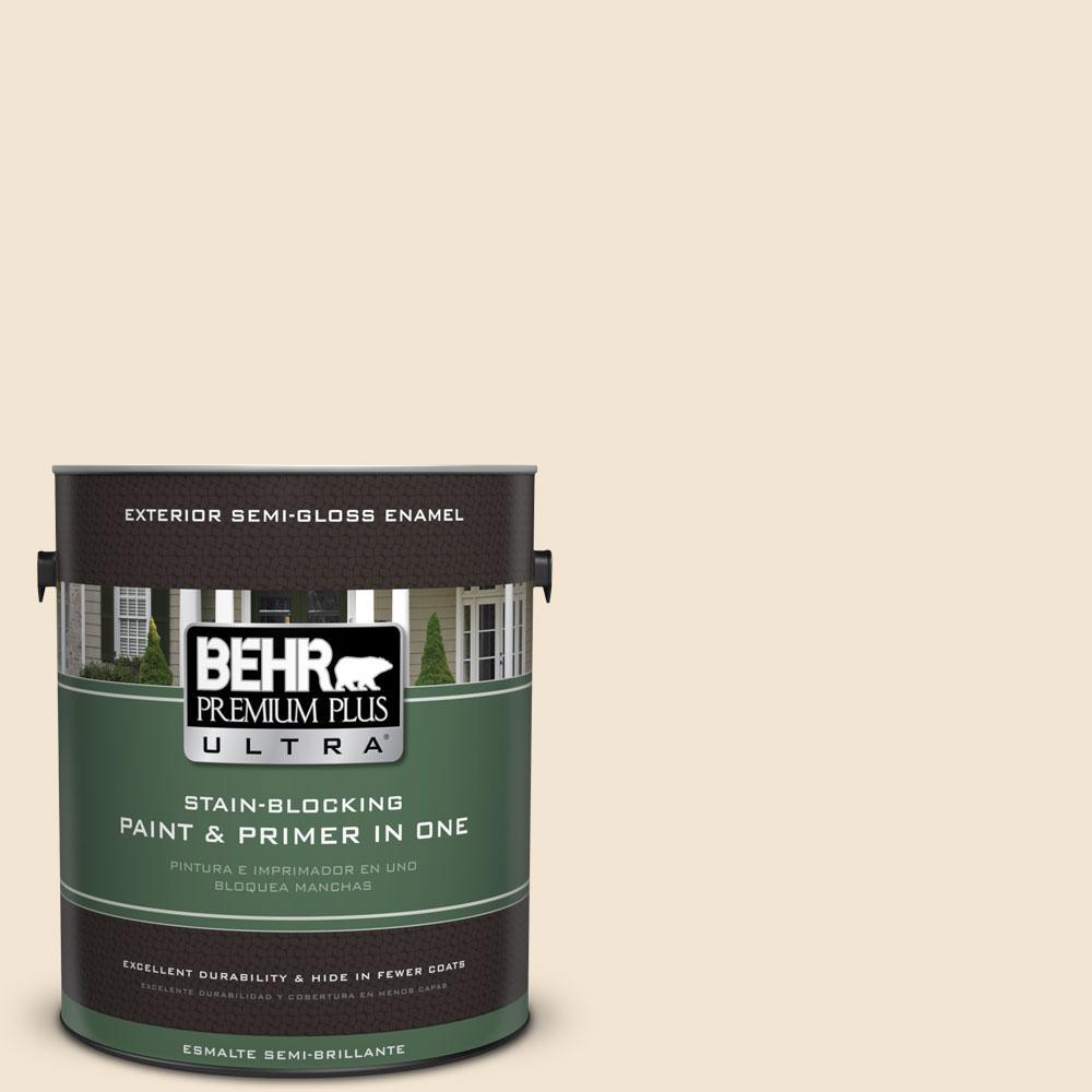 BEHR Premium Plus Ultra 1-gal. #S300-1 French Creme Semi-Gloss Enamel Exterior Paint