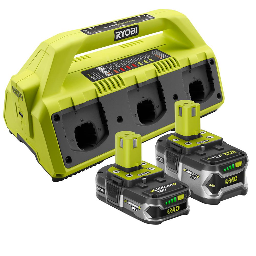 RYOBI 18-Volt ONE+ 6-Port Dual Chemistry SUPERCHARGER Kit with (1) 4.0 Ah LITHIUM+ and (1) 1.5 Ah Compact LITHIUM+ Batteries