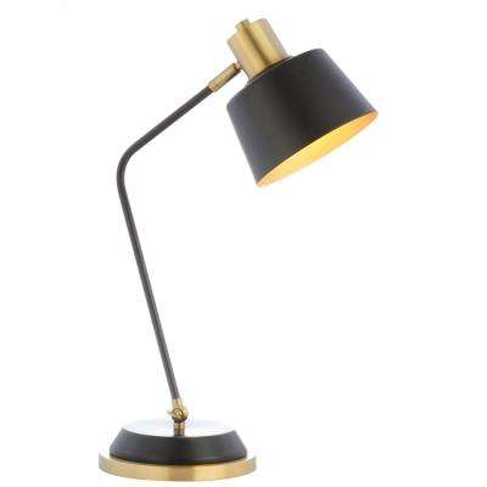 Rochelle 23 in. Black/Brass Gold Metal Task Lamp