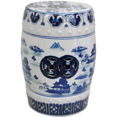 Oriental Furniture 18 in. Landscape Blue and White Porcelain Garden Stool