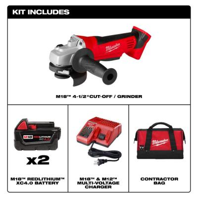 M18 18-Volt Lithium-Ion Cordless 4-1/2 in. Cut-Off/Grinder with Two 4.0 Ah Batteries, Charger and Contractor Bag