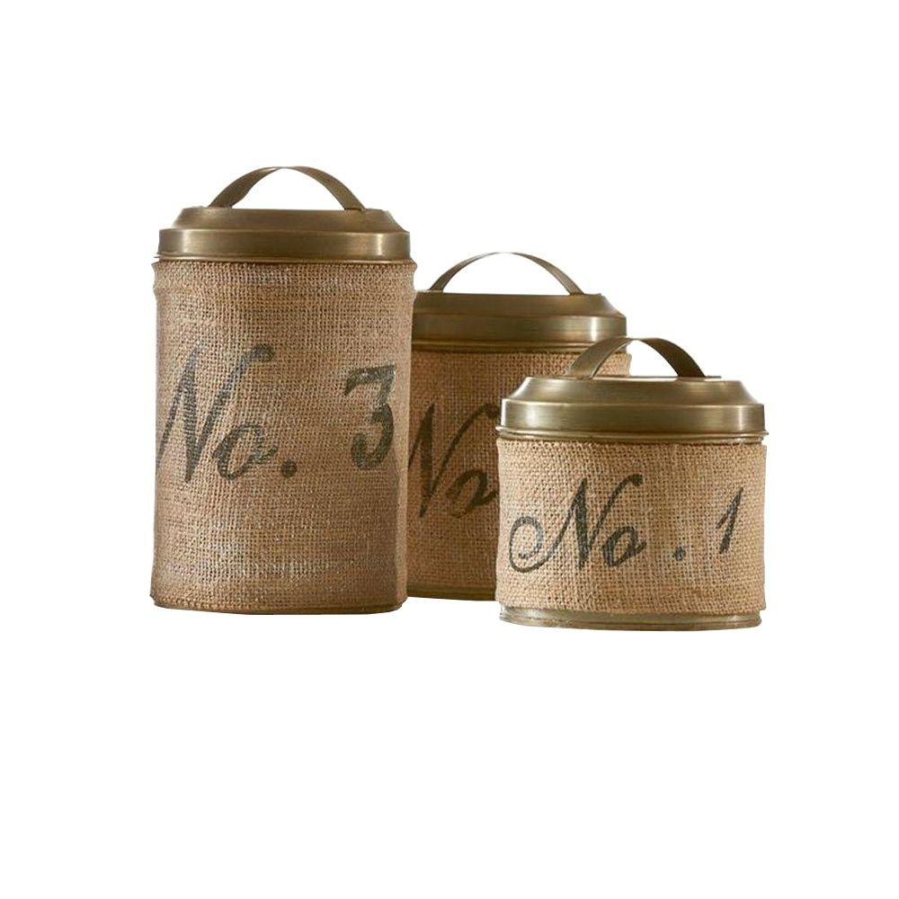 Home Decorators Collection Numeric 6.5 in. H Burlap Iron Canister (Set of 3)