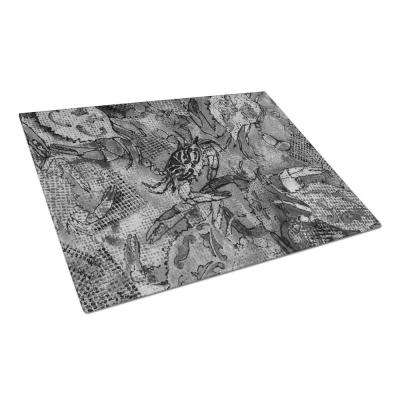 Grey Canvas Abstract Crabs Tempered Glass Large Heat Resistant Cutting Board