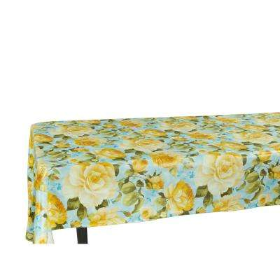 55 in. x 70 in. Indoor and Outdoor Yellow Rose Design Tablecloth for Dining Table