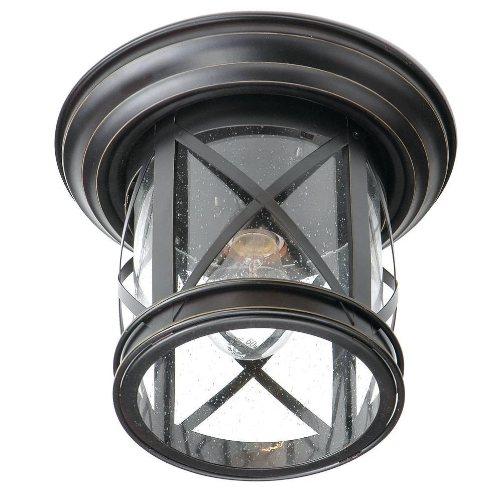 1-Light Oil Rubbed Bronze Outdoor Flush Mount