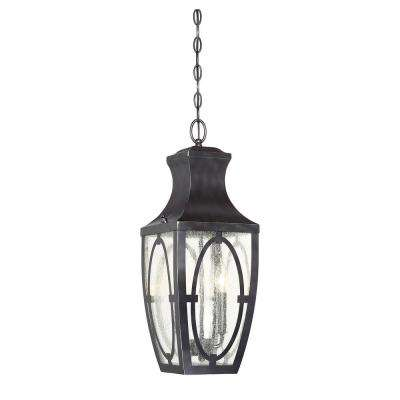 2-Light English Bronze with Gold Outdoor Hanging Lantern with Clear Seeded Glass