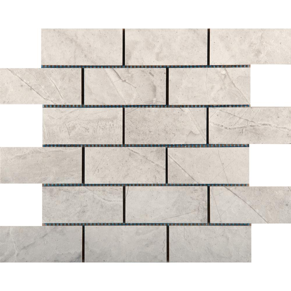 EMS Eurasia Bianco 13.07 in. x 13.07 in. x 10mm Porcelain Mesh-Mounted Mosaic Tile