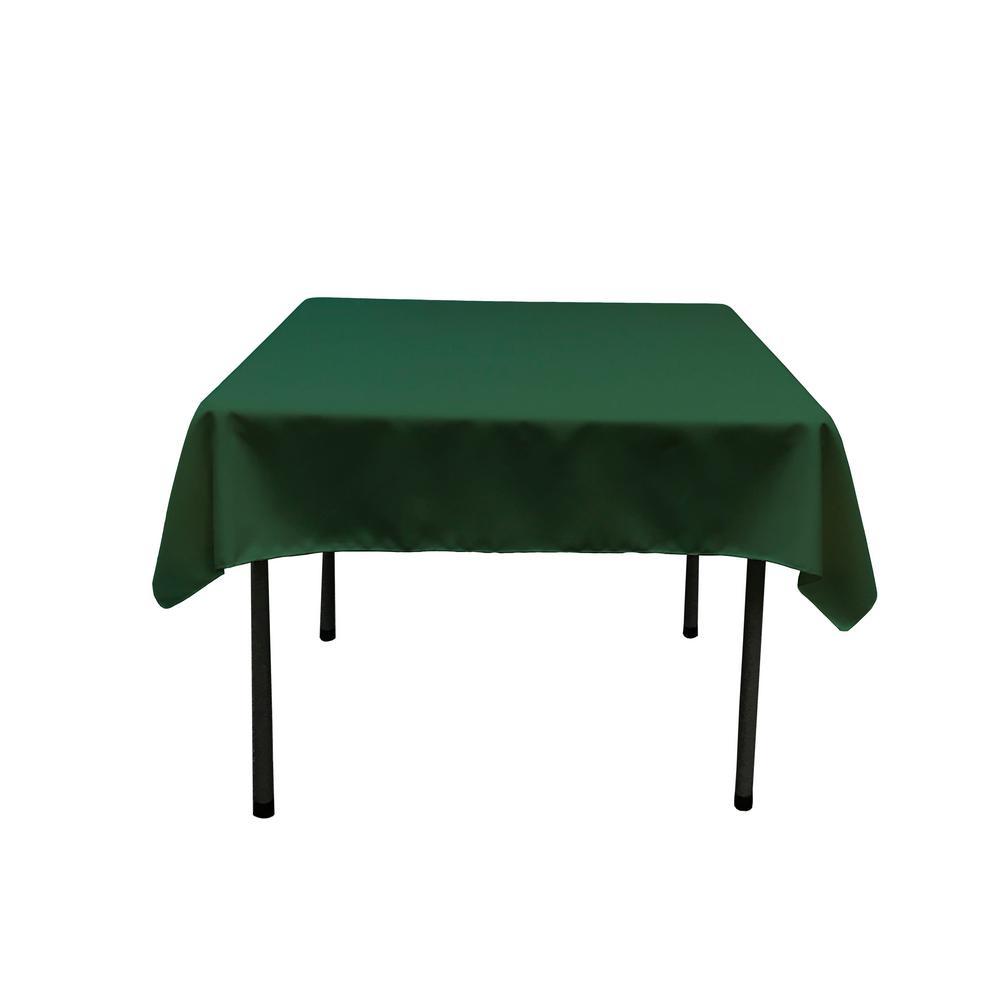 58 in. x 58 in. Hunter Green Polyester Poplin Square Tablecloth