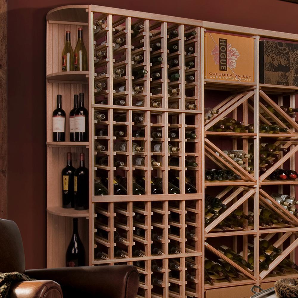 48-Bottle Pine Floor Wine Rack