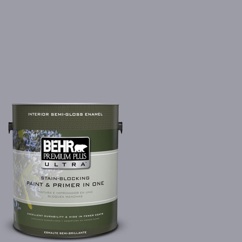 1-gal. #BNC-09 Heather Gray Semi-Gloss Enamel Interior Paint
