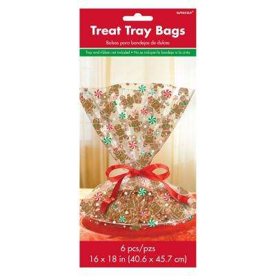 Gingerbread 16 in. x 18 in. Cello Christmas Cookie Tray Bag (6-Count, 4-Pack)