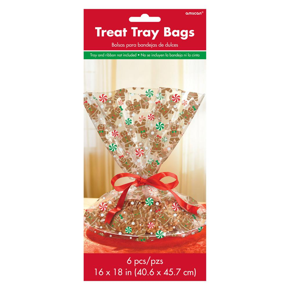 Amscan Gingerbread 16 In X 18 In Cello Christmas Cookie Tray Bag 6 Count 4 Pack