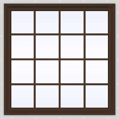 47.5 in. x 47.5 in. V-2500 Series Brown Painted Vinyl Fixed Picture Window with Colonial Grids/Grilles