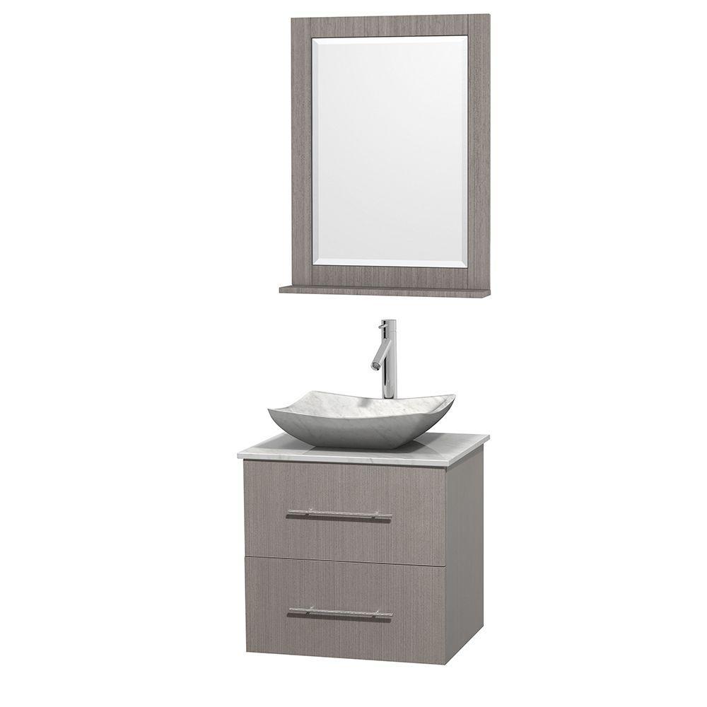Centra 24 in. Vanity in Gray Oak with Marble Vanity Top