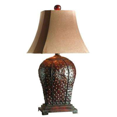 34 in. Rust/Mahogany Table Lamp