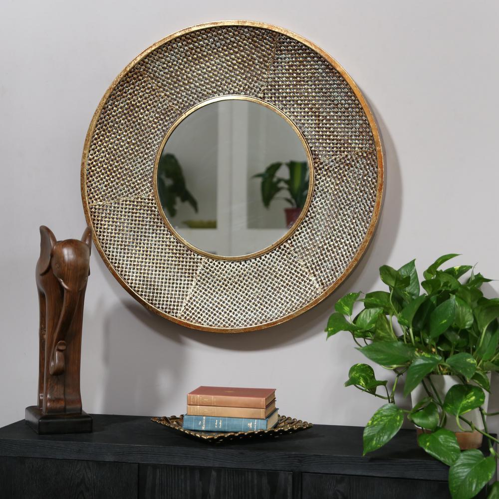 Round Gold Rust Metallic Mirror