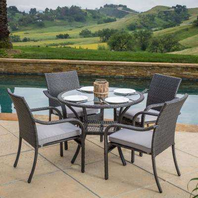 San Pico Gray 5-Piece Wicker Outdoor Dining Set