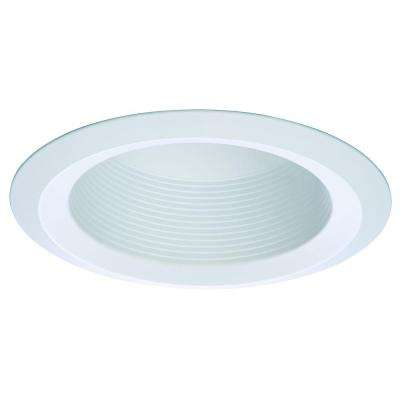 E26 Series 6 in. White Recessed Ceiling Light Full Cone Baffle with Self Flanged White Trim Ring