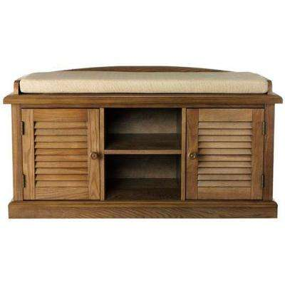 Weathered Oak 2 Door Storage Bench