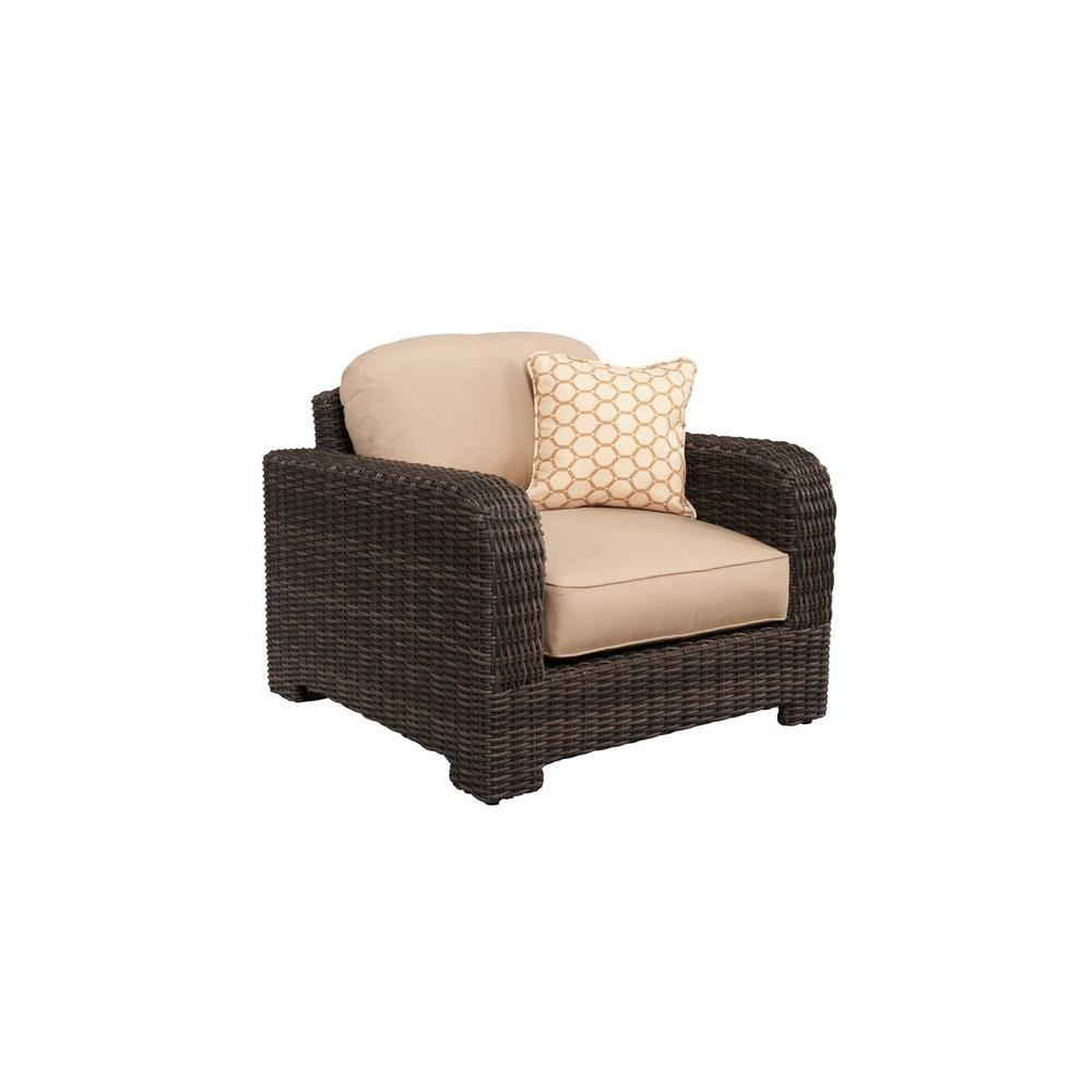 Northshore Patio Lounge Chair with Harvest Cushions and Tessa Barley Throw