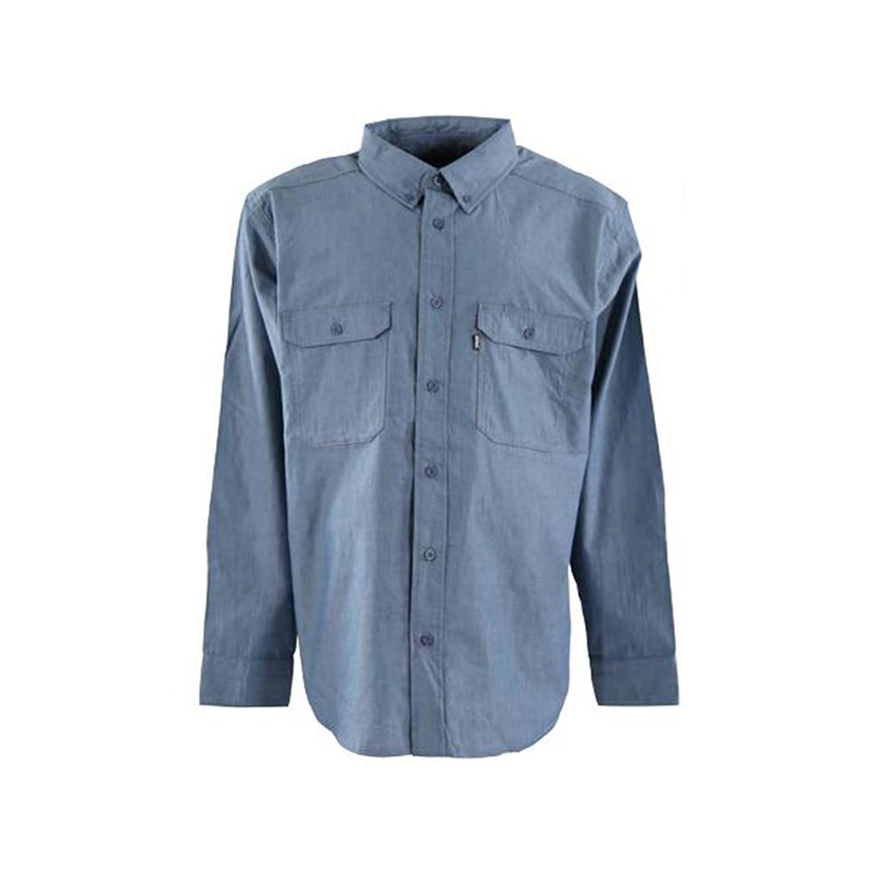 adff73ec Berne Men's Medium Blue Cotton and Polyester Chambray Long Sleeve Work Shirt