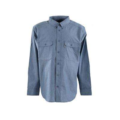 Men's Large Tall Blue Cotton and Polyester Chambray Long Sleeve Work Shirt