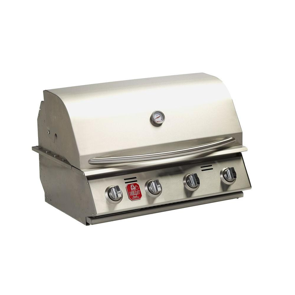 BULLET 4-Burner Built-in Propane Gas Grill in Stainless S...