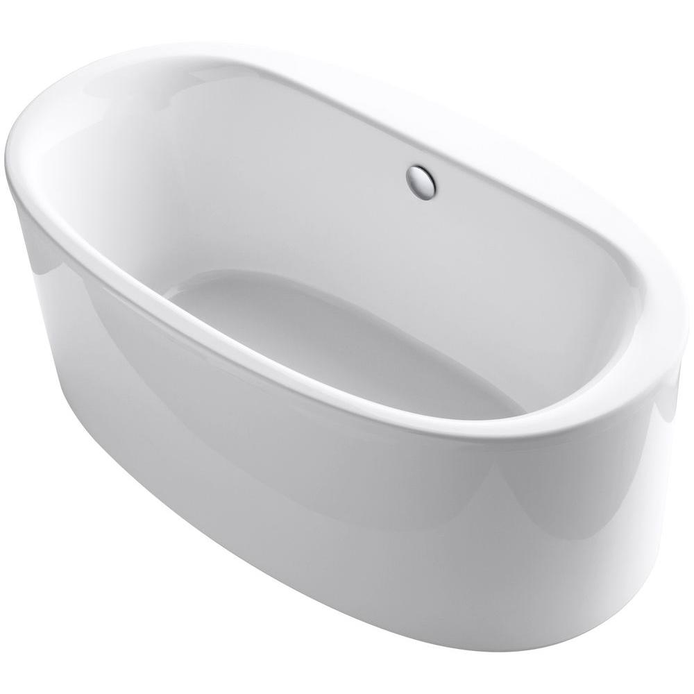 KOHLER Sunstruck 5.5 ft. Acrylic Flat Bottom Center Drain Bathtub with Straight Shroud in White