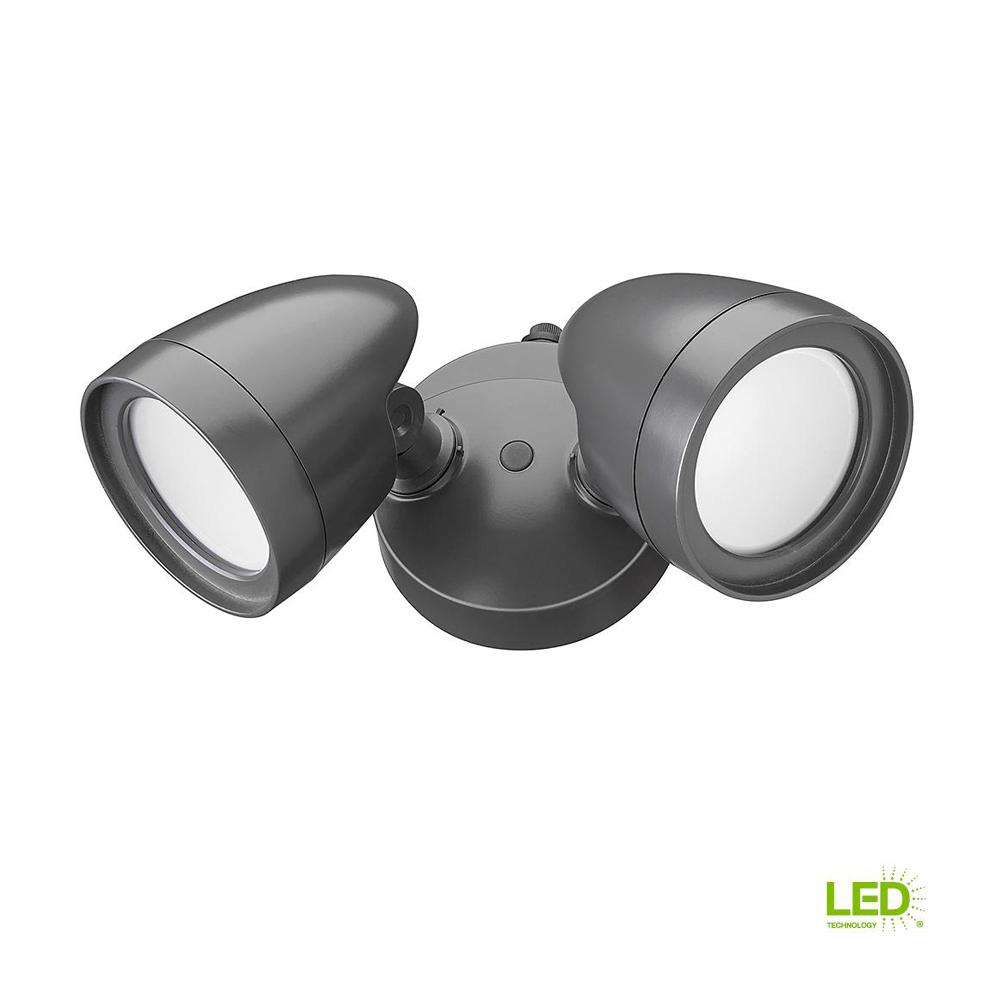Defiant 2 Head Dark Bronze Outdoor Integrated LED Security Flood ...