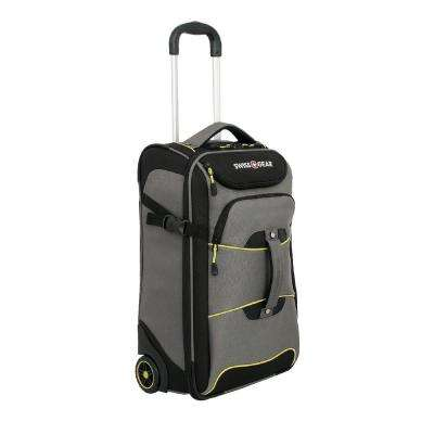 Sierre II 21 in. Gray and Black Rolling Luggage Lift Backpack Cement Suitcase