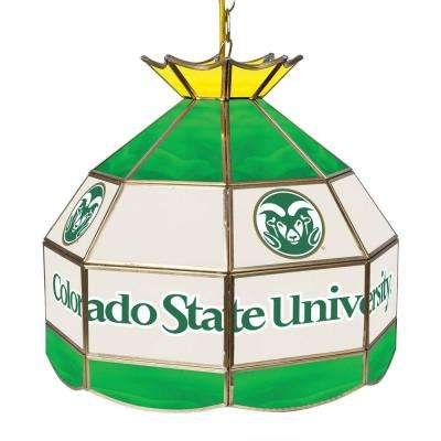 Colorado State University 16 in. Gold Hanging Tiffany Style Billiard Lamp